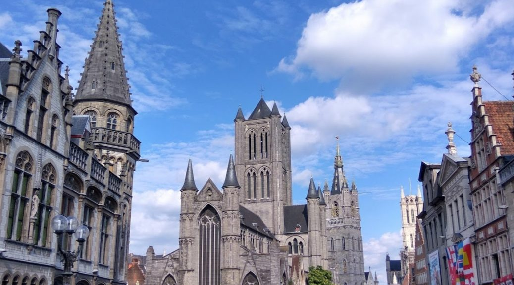 The beautiful city center of Ghent, Belgium