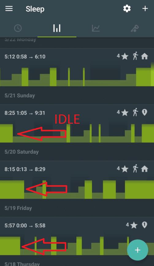 SleepasAndroid screenshot of laying idle