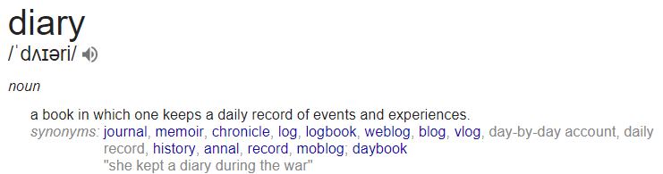diary vs journal definition from google diary