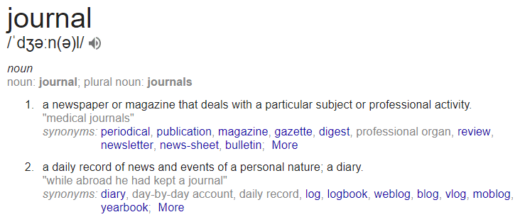 diary vs journal definition from google journal