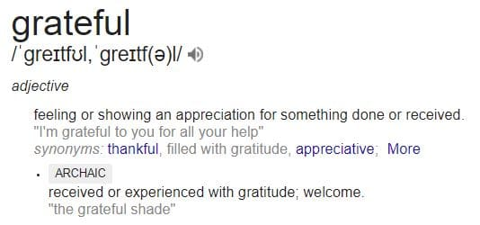 definition of being grateful according to google