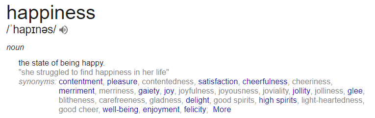 happiness definition google