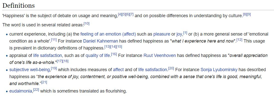 happiness definition wikipedia