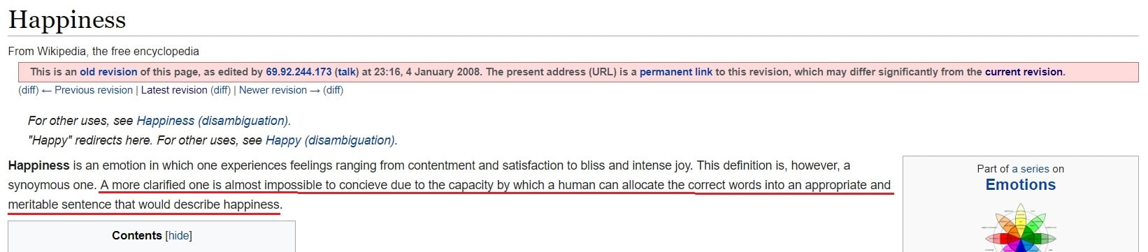 happiness wikipedia definition 2008