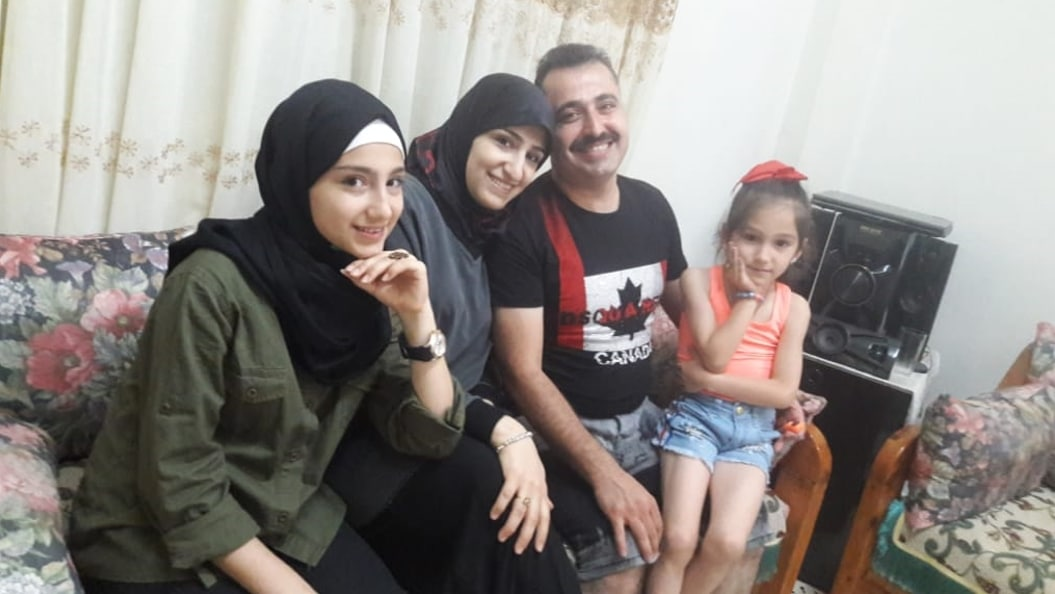 happy syrian family in lebanon