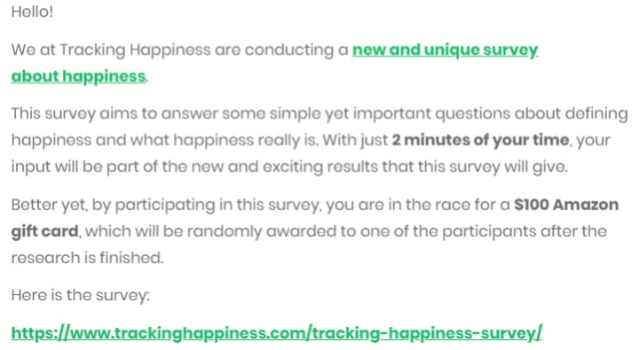 initial tracking happiness survey announcement email