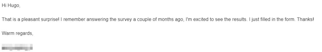 survey contest winner reply