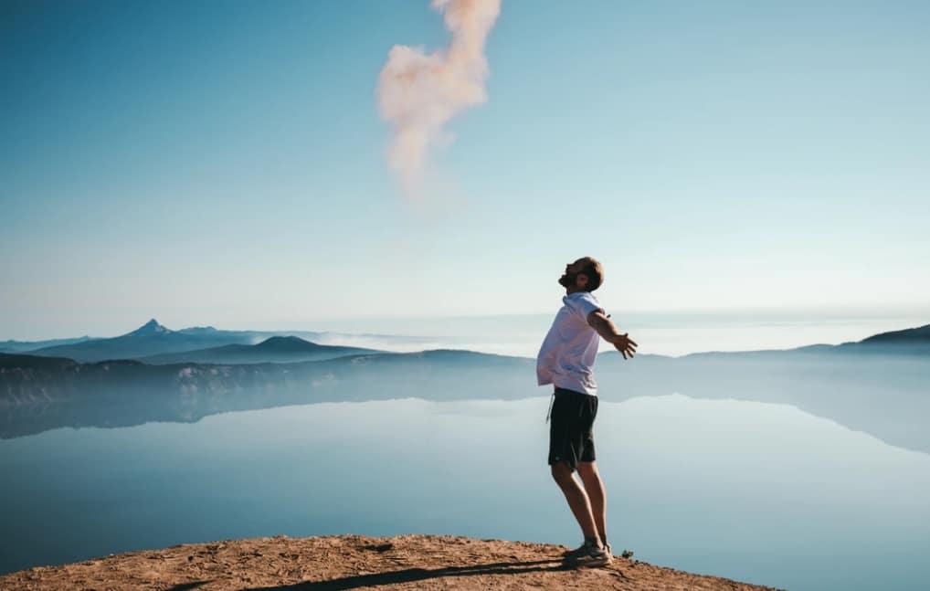 freedom man on mountain