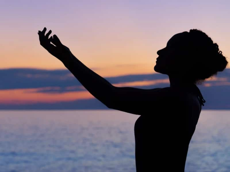 silhouete of woman mindful calm relaxing
