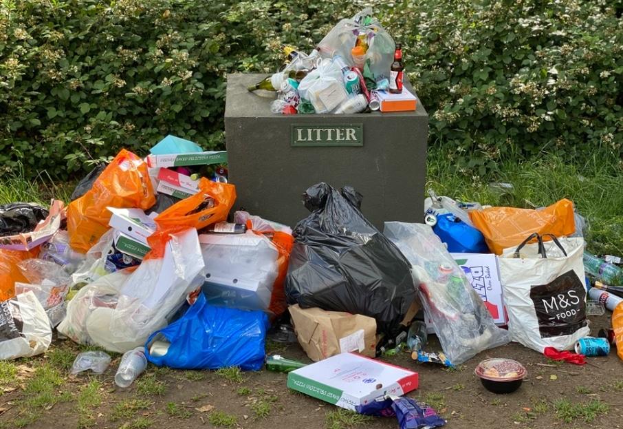 piles of trash litter