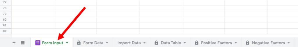 THD form input sheet tab