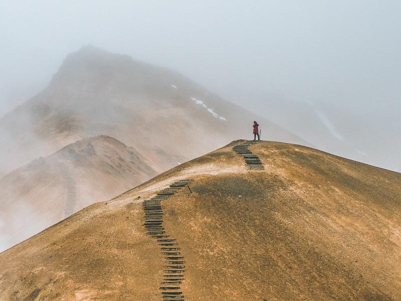 walking on a path hill