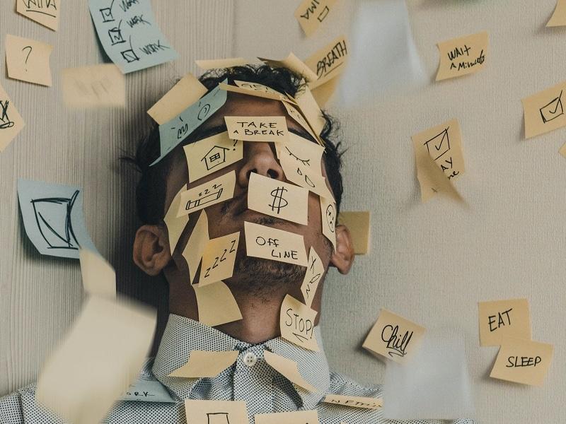 man anxiety stress postit notes