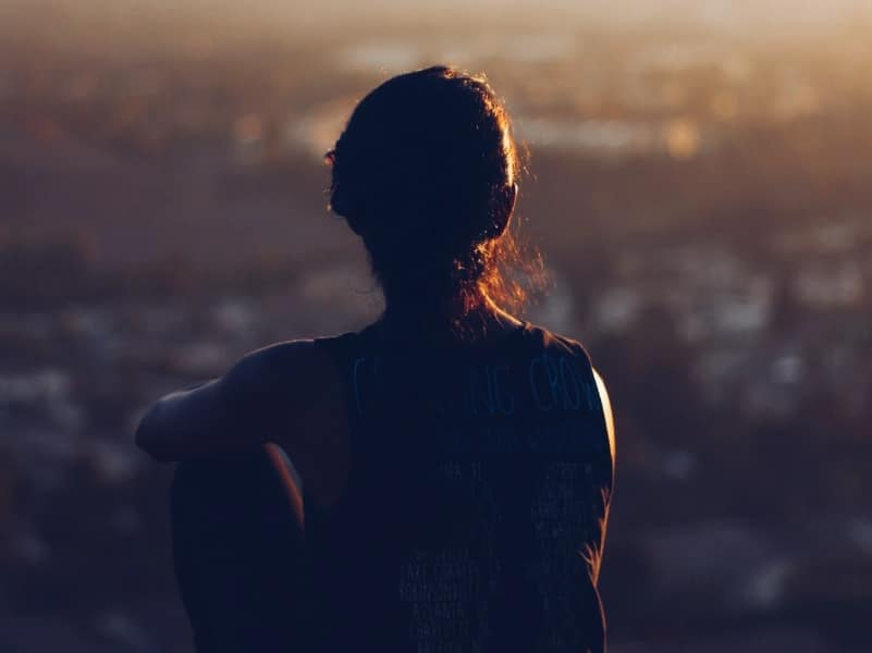 woman staring distance