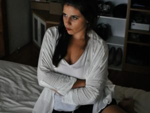 angry woman sitting