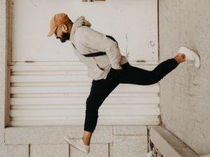 man walking upside down