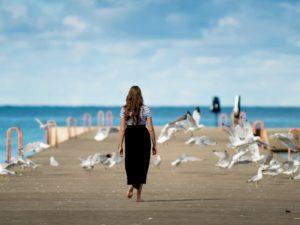 woman walkway ocean